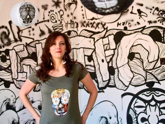 Woman T-shirt with fancy skull motif by LeeAMuerte on Etsy #sugarskull