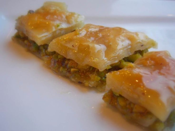 Hello Honey! Sweet Baklava with pistachios and walnuts in a rose water sugar syrup