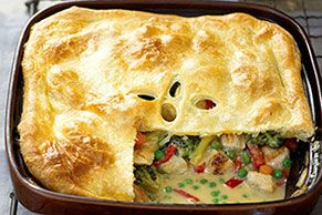 Chicken Pot Pie with Puff Pastry Crust - I plan to make this but will add more seasoning when cooking the chicken, I'll use cream cheese instead of Velveeta and will also add pre-steamed frozen potatoes as well as a bottom crust. Hearty comfort food! .