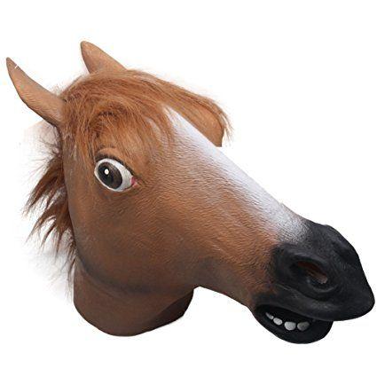 Signstek - Maschera intera, motivo testa di cavallo, per feste di Halloween e cosplay, in lattice