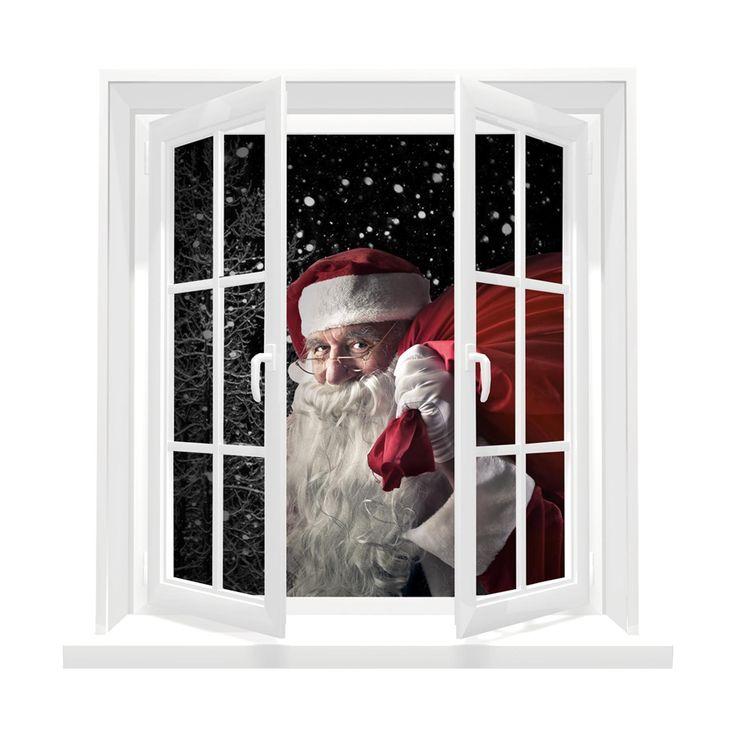 Adesivi da parete 3D Window Santa Claus Finestra Tridimensionale Babbo Natale con Sacco Wall Sticker Adesivo da Muro