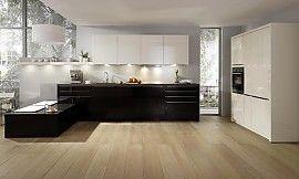 Designküche Cambia in Camee und Chocolat Hochglanz (rational Küchen)