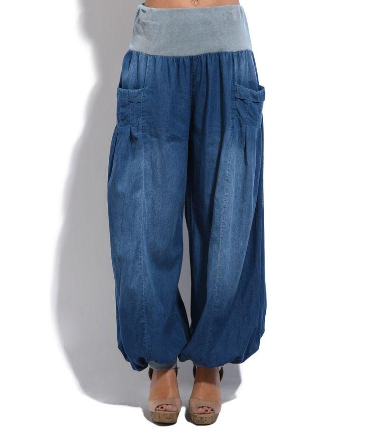 Blue Denim Harem Pants