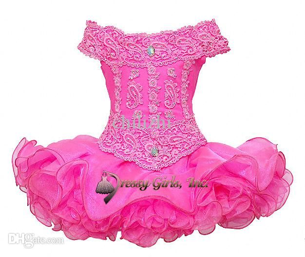 Wholesale Girl's Pageant Dresses - Buy Hot Pink Horizontal Collar Neck Lace Sequins Ruched Ruffles Little Girls Mini Short Skirt Cupcakes Infant Toddler Pageant Princess Dresses, $86.0 | DHgate