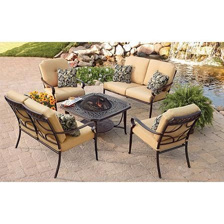 better homes and gardens paxton place 5 piece patio conversation set with fire pit. beautiful ideas. Home Design Ideas
