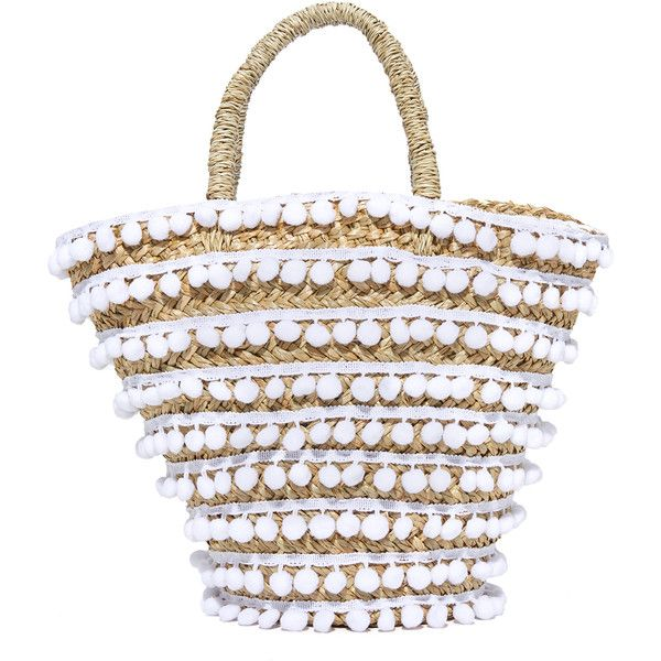 Mystique Pom Pom Tote ($115) ❤ liked on Polyvore featuring bags, handbags, tote bags, white, straw purse, straw tote beach bag, beach tote, beach tote bags and white handbags