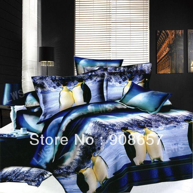 Симпатичные голубой пингвин шаблон дешевле 3D комплект постельных принадлежностей скидка маслом девушки королева/полный пододеяльники наборы для лоскутного одеяло/одеяло
