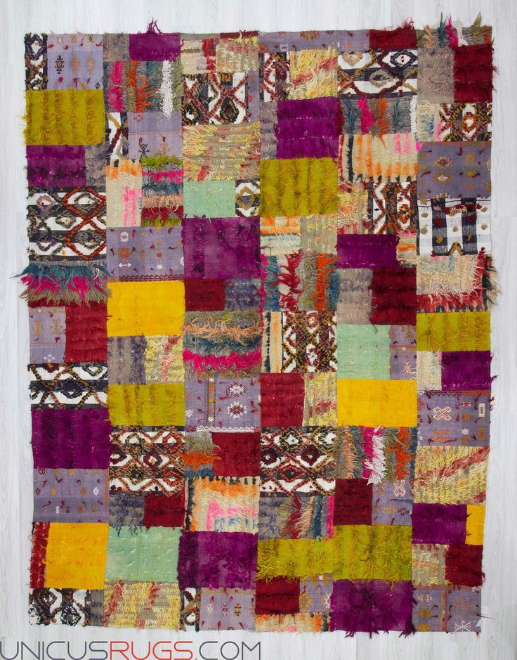"Decorative colourful kilim patchwork made from handwoven kilim pieces and backed with good quality cotton fabric as reinforcement. In very good condition. Width: 9' 3"" - Length: 12' 2"" PATCHWORKS"