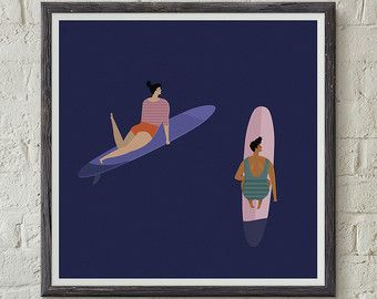 Weligama bay surf retro poster. Digital Download by FunkyPrintShop
