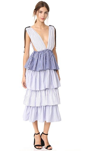 Blue and white stripe tiered dress with shoulder ties - Collective
