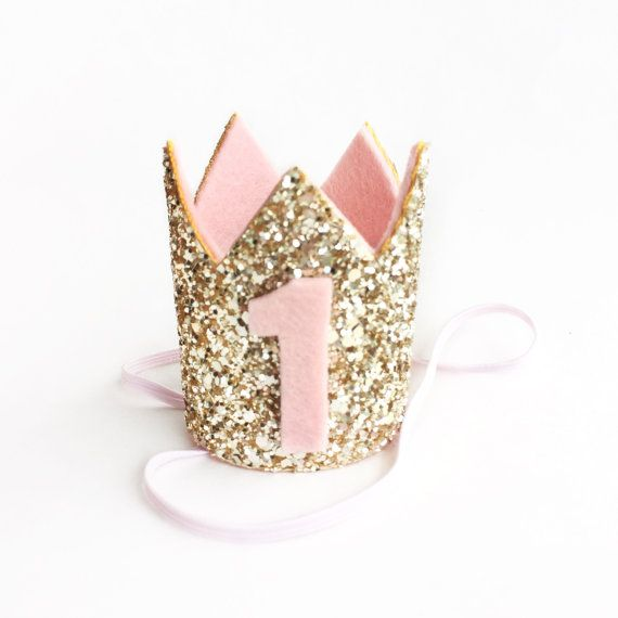 Miniature 1st birthday crown headband- blush and gold baby / girl birthday…