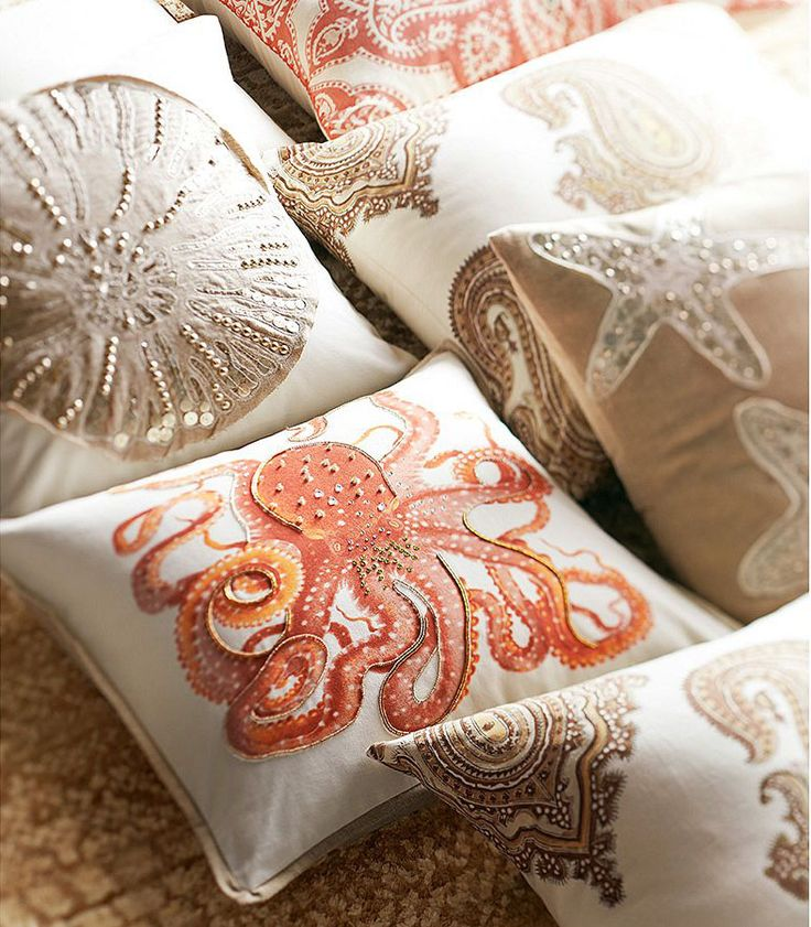 Cool coastal corals. Pair with navy walls, white duvet cover, and accent with corals. Guest bedroom. Done and done.