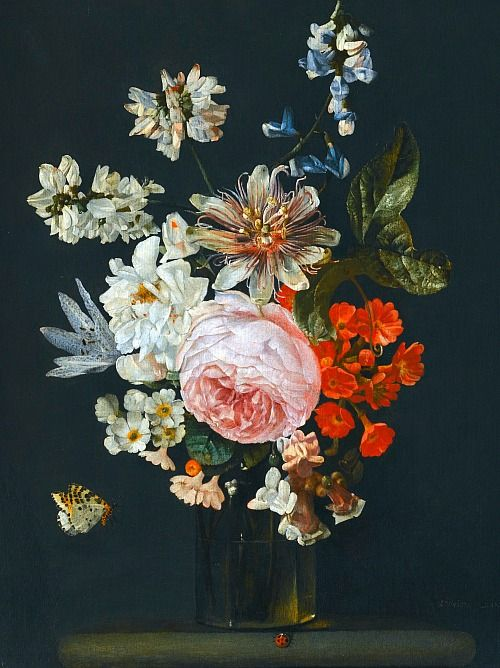 Carstian Luyckx Still Life with Flowers and Insects 17th century