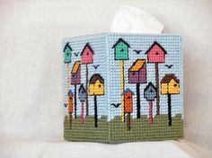 Plastic canvas Birdhouse Tissue Box Cover / Kleenex Box Cover