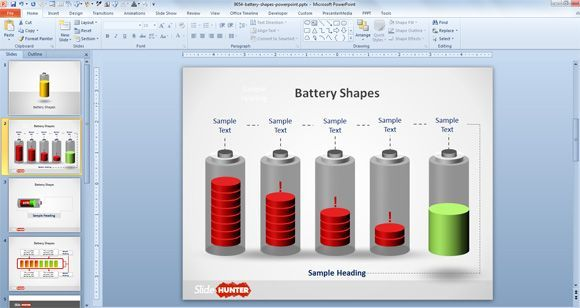 Free Battery PowerPoint Template is a battery shape PowerPoint design for energy themed PPT presentation. | Battery backgrounds for PowerPoint free download by Slide Hunter
