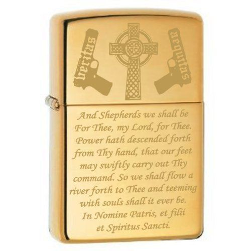 "Boondocks Saints Prayer Zippo Lighter Brush Gold . $24.95. Genuine Brush Gold Zippo lighter engraved with the shepherds prayer from the movie The Boondock Saints. The words ""veritas"" and ""aequitas"", meaning ""truth"" and ""justice"" in Latin, are overlaid onto the guns. Truly a great gift for any Boondock Saints fan. All Zippo lighters are made in the U.S.A. and come with a lifetime ""fix it FREE"" warranty. If any Zippo product should ever fail just return it to Zippo m..."