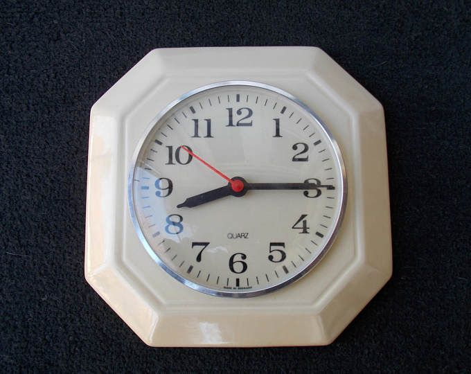 Kitchen ceramic clock, wall clock, retro clock, home decor clock, Quarz clock, Germany clock, cool clock, vintage clock, cool clock