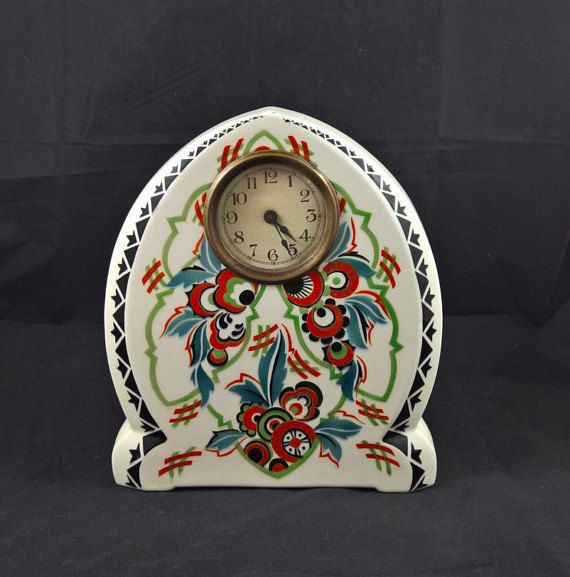 Porcelain Mantel Clock Porcelain Clock Floral Clock Floral