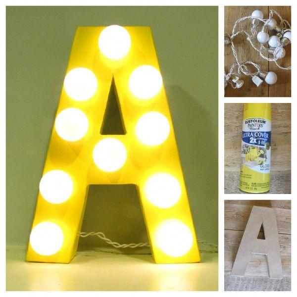 Diy:  Homemade letter lights.
