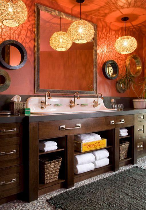 Die besten 25+ Orangefarbene badezimmereinrichtung Ideen auf - interieur warmen farben privatwohnung