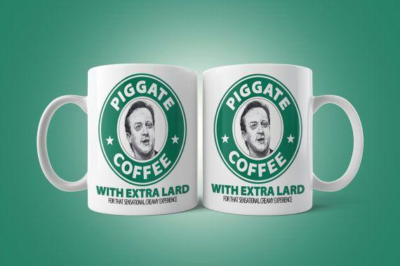 Piggate Coffee Mug David Cameron UK Prime Minister by VictorCotton