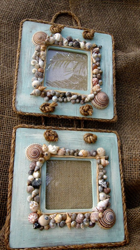 Double Hanging Rope and Sea Shell Frame by BungalowStories on Etsy, $55.00