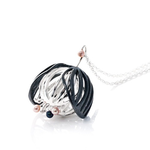 """""""Black and White Blossom"""" necklace. Oxidised/blacken sterling silver. fresh water pearls."""
