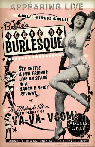 Wall Art for the Burlesque of Betty Page and her shows in the 1950's