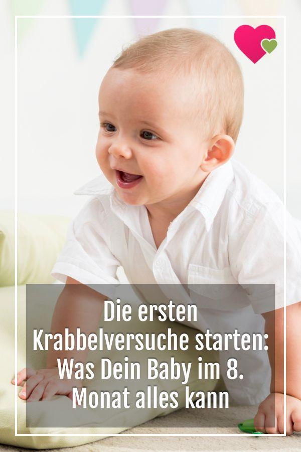Die Ersten Krabbelversuche Starten Was Dein Baby Im 8 Monat Alles Kann Entwicklung Baby Babyentwicklung Und Baby 30 Wochen