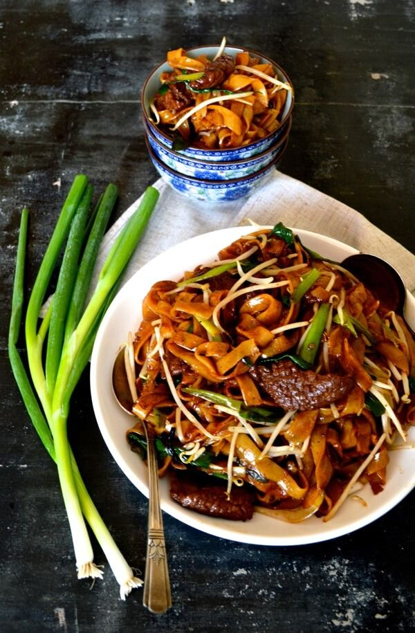 Beef chow fun is a favorite Cantonese dish, made from stir-frying beef, he fen (wide rice noodles), scallions, ginger, bean sprouts and dark soy and [is frequently seen at dim sum brunches