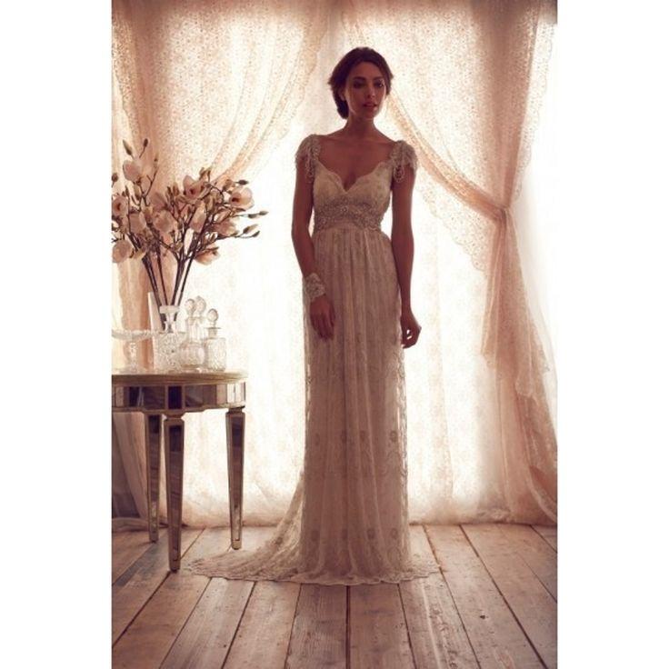 Анна кэмпбелл настоящее фото кружева свадебные платья V декольте молния назад бисероплетение жемчуг камни линии свадебные платья vestido де noiva