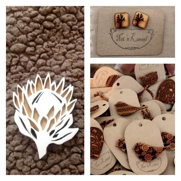 White & brown Protea Brooch - awesome website - designery.co.za