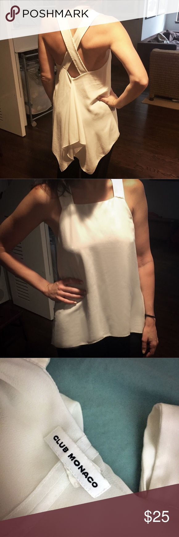 "CLUB MONACO 🎀 Fun Flowey White Blouse Tank 🎀 Longer in the back with a fun gathered ""bow"" look, open shoulders and x-cross back! Great with a short skirt, even jeans. 🌸 Gently used but great condition, no noticeable flaws. Very fem feeling, with a slightly dramatic back! Size XS though I previously cut the tags - it's a very flowey, forgiving fit. Club Monaco Tops Blouses"