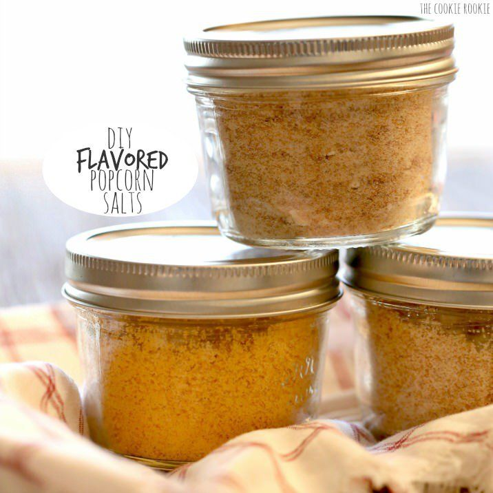 DIY Flavored Popcorn Salts, SO FUN! Buffalo Ranch, Bacon Parmesan, and Chocolate Wine flavors! So easy, the perfect homemade Christmas gift!