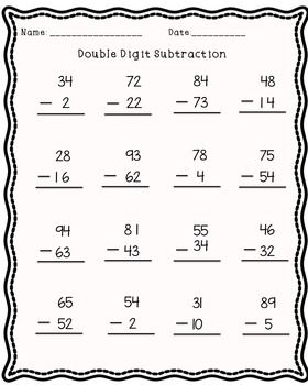 DOUBLE DIGIT SUBTRACTION AND ADDITION! 20 pages! by Mrs Parish Class   Teachers Pay Teachers