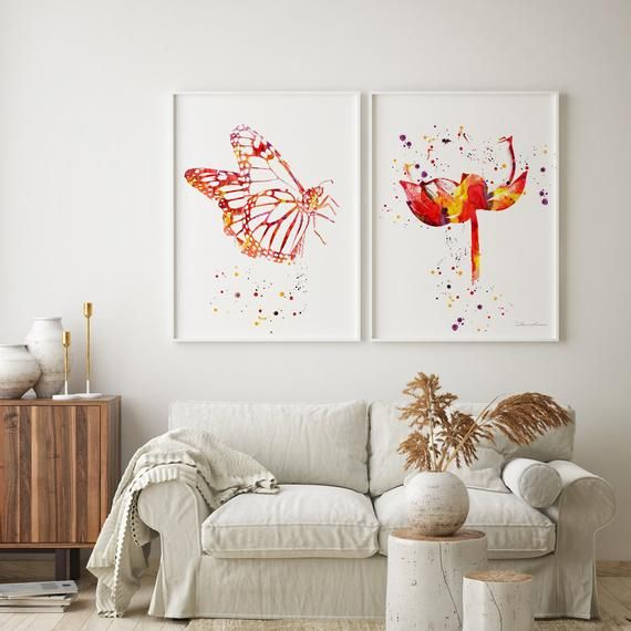 Orange Butterfly Big Butterfly Print Abstract Flower