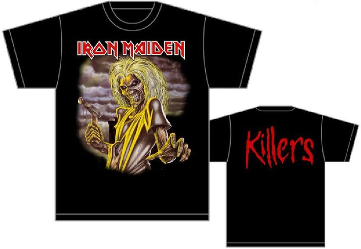 This Iron Maiden Killers men's tshirt spotlights a close up of the band's mascot, Eddie, from the album cover artwork of their 1981 release. The back of the shirt features the name of the album, Killers, exactly how it appeared on the album cover. This tee is made of 100% black cotton.