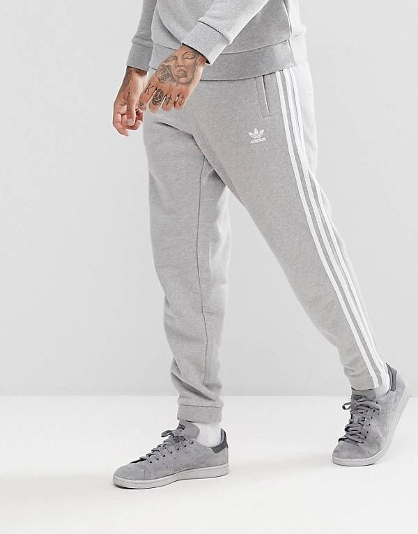 adidas Originals adicolor 3 Stripe Joggers In Grey CY4569