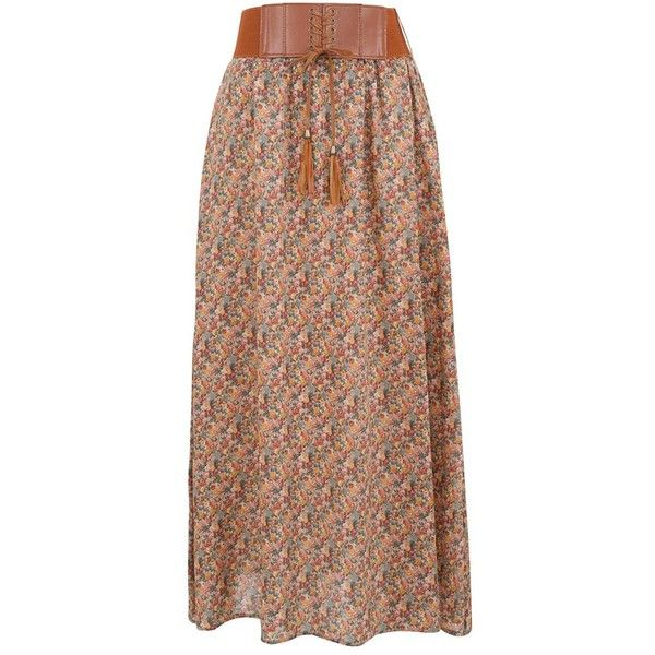 Petite Brown Ditsy Floral Belted Maxi Skirt ($14) ❤ liked on Polyvore featuring skirts, petite, long maxi skirts, petite maxi skirt, brown skirt, belted maxi skirt and floral maxi skirt