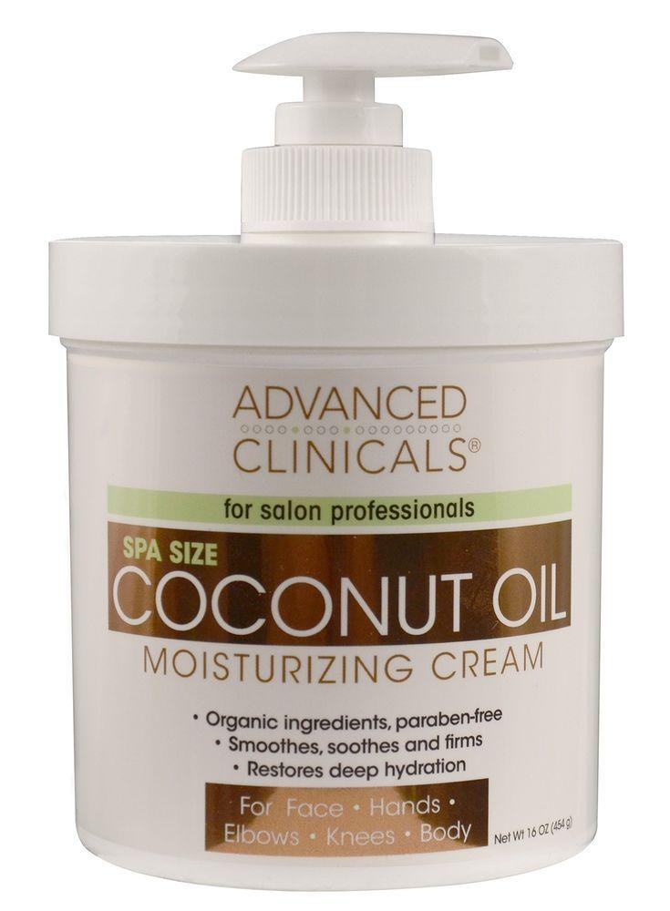 Moisturizing Cream Advanced Clinicals Coconut Oil Cream Spa Size 16oz Organic #AdvancedClinicals
