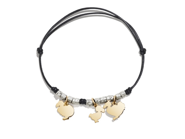 The Dodo family charms on a black cord bracelet with silver beads.