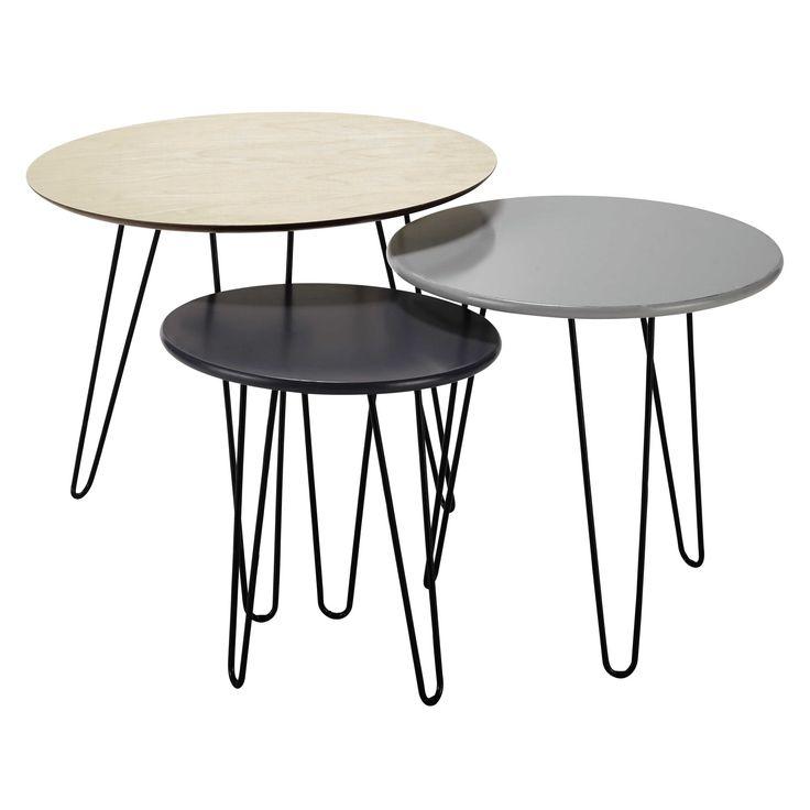 3 tavoli bassi estraibili in legno D da 40 a 60 cm Graphik