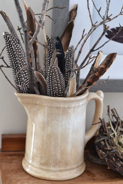 Feather collection in a creamer... lovely