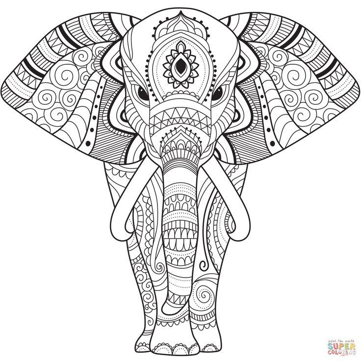 dibujo de zentangle elefante para colorear | dibujos para