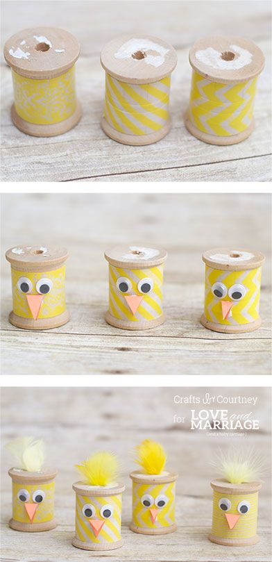 Make these thread spool Easter chicks for a super easy Spring craft for kids and adults.