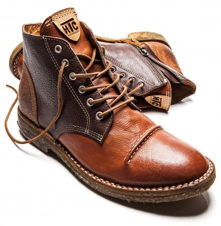 Brown & Caramel Leather & Suede Desert Boot with Spats. Hollywood Trading Company. Men's Fall winter Fashion.