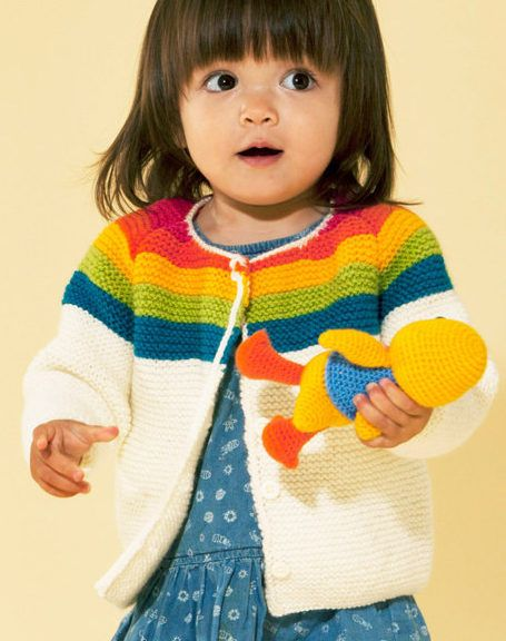 Free Knitting Pattern for Easy Rainbow Cardigan - This easy garter stitch sweater for babies and children features and striped yoke. Sizes 1 Years to 9 Years'