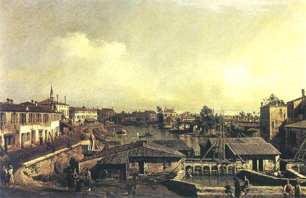 Bernardo Bellotto, I molini sul Brenta a Dolo. Henley-on-Thames, collezione del visconte di Hembleden
