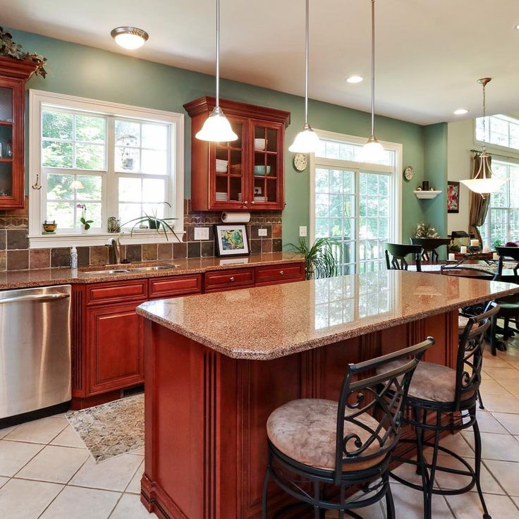 Dark Cherry Wood Cabinets Kitchen Color Ideas With Cherry: 1000+ Ideas About Cherry Wood Kitchens On Pinterest