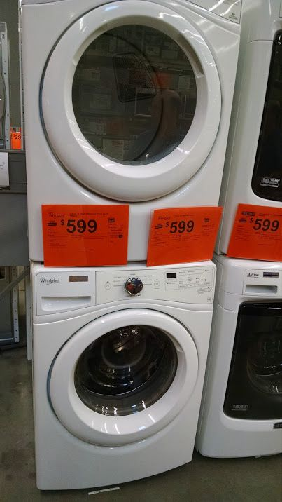 Stackable washer and dryer on sale for $599 each